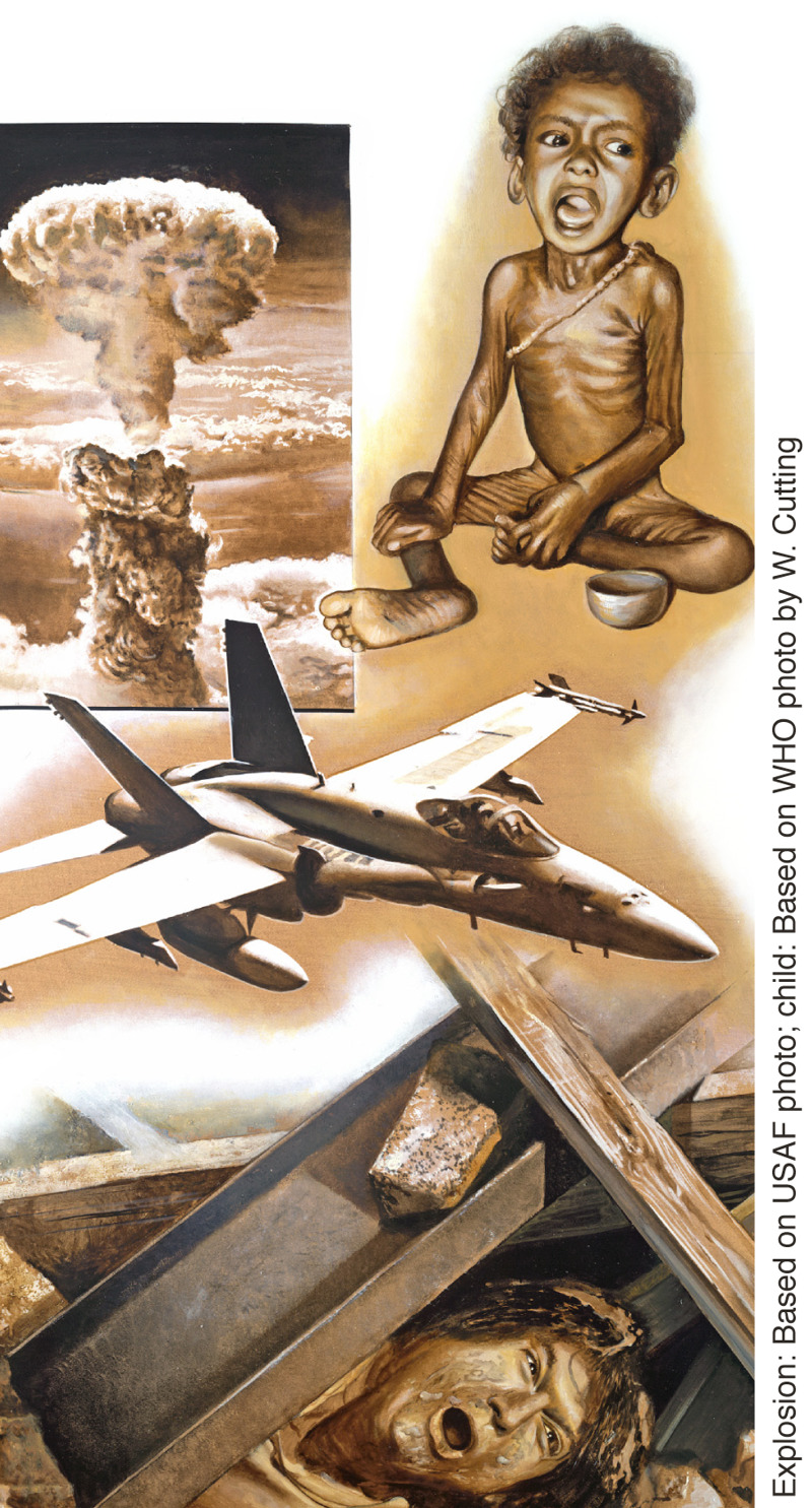 Obeležja poslednjih dana: eksplozija bombe, neuhranjeno dete, vojni avion, čovek u ruševinama nakon zemljotresa