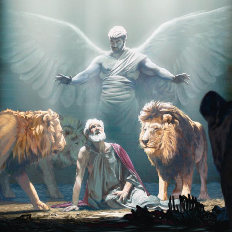 Een engel beschermt Daniël in de leeuwenkuil