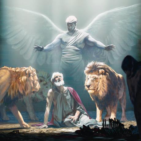 Um anjo protegendo Daniel na cova dos leões