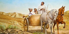 ഫിലിപ്പോസും എത്യോപ്യൻ കൊട്ടാര ഉദ്യോഗസ്ഥനും സ്നാനം ഏൽക്കുന്നതിനെക്കുറിച്ച് സംസാരിക്കുന്നു