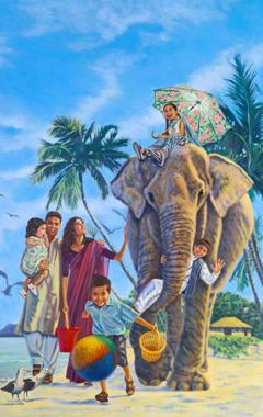 Familia ikifurahia maisha katika paridiso duniani