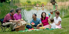 A group of spiritually-minded friends enjoying a picnic together