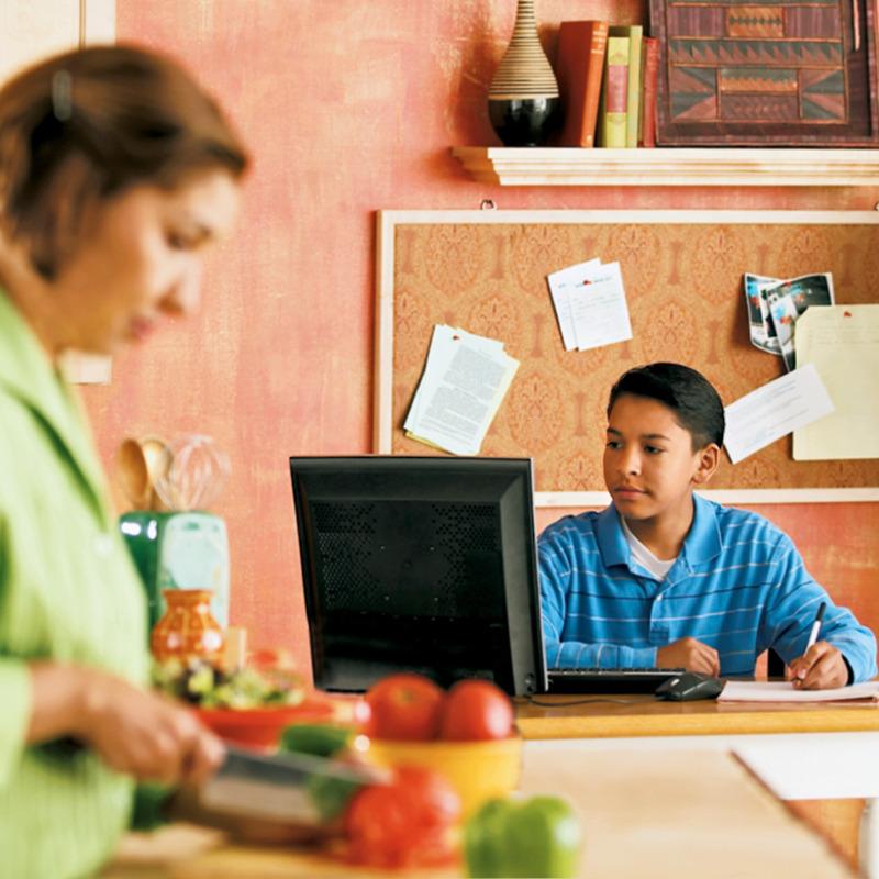 Un jovencito navegando en Internet desde su computadora en una zona pública de la casa