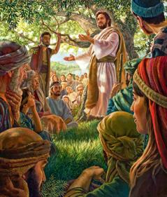 Jesus gir apostlene og andre disipler deres oppdrag på et fjell i Galilea