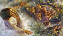 Иса Мәсиһ ҝөјә галхыр вә шаҝирдләр онун ардынҹа бахырлар