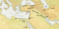 Et kart over steder som de tilreisende kom fra for å overvære pinsehøytiden i Jerusalem