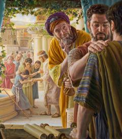 Petrus legt einem neuen Jünger die Hände auf; Simon, der Magier, hält einen Geldbeutel in der Hand