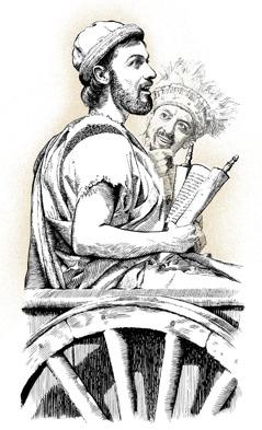 Philippus sitzt mit dem äthiopischen Eunuchen in einem Wagen