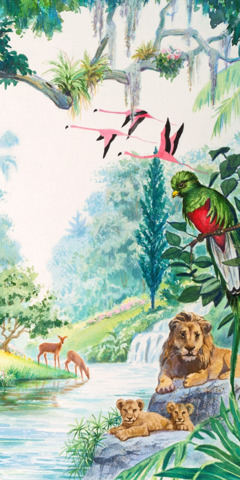 Leões, pássaros e veado no jardim do Éden