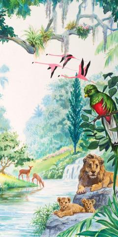 Еден цэцэрлэгт олон арслан, олон шувуу, буга байна