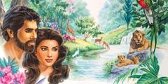 Adão e Eva no jardim do Éden, cercados por animais