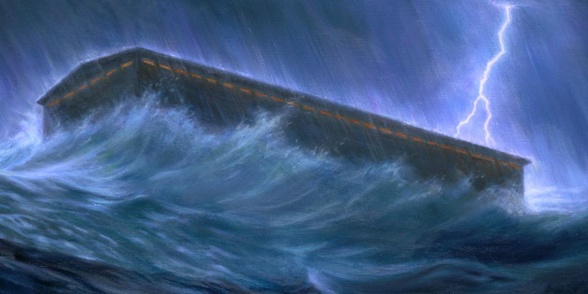 Ковчег плывет, идет дождь и вода поднимается