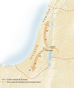 Peta tanah Kanaan[Peta di hlm.11]