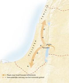 Kaart van het land Kanaän[Kaart op blz. 11]