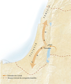 Mapa da terra de Canaã[Mapa na página 11]