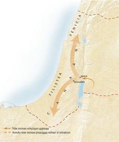 Mapa ndrígóo mbaa' Canaán[Mapa rí na̱'kha̱ náa ináa 11]