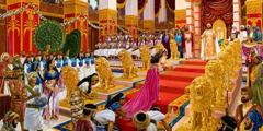 Královna ze Šeby přichází k trůnu krále Šalomouna