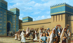 The Jewish exiles leave Babylon and return to Jerusalem