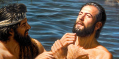 요한이 예수께 침례를 베풀다