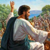 Jesús habla a una muchedumbre
