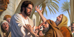 Jesus touches a blind man's eyes and cures him