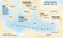 Mapa míst, kde Pavel psal své dopisy