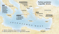Karta; mjesta u kojima je Pavao pisao poslanice