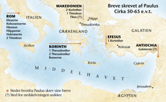 Kort over de steder Paulus befandt sig da han skrev sine breve
