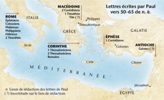 Carte situant les congrégations auxquelles Paul a écrit
