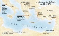 Mappa dei luoghi da cui Paolo scrisse le sue lettere
