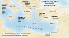 Peta yang menunjukkan di mana Paulus menulis surat-surat
