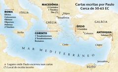 Mapa com os lugares onde Paulo escreveu suas cartas
