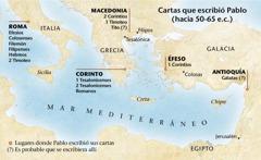 Mapa de los lugares donde Pablo escribió sus cartas