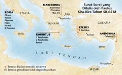 Peta yang menunjukkan tempat Paulus menulis suratnya