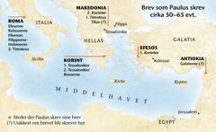 Kart over steder der Paulus skrev brev