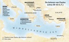 Kaart met locaties waar Paulus brieven schreef