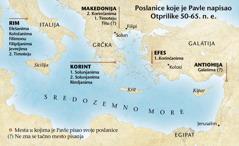 Karta sa mestima u kojima je Pavle pisao svoja pisma