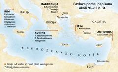 Zemljevid krajev, kjer je Pavel pisal pisma