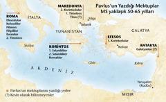 Pavlus'un mektuplarını yazdığı yerleri gösteren bir harita