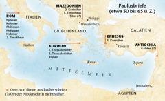 Karte der Orte, von denen aus Paulus schrieb