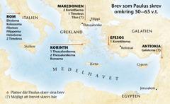Karta över platser där Paulus skrev sina brev