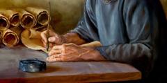 En bibelskribent som skriver ett brev