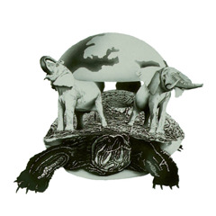 A turtle holds four elephants as they hold the earth