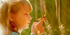 A girl looks at a butterfly