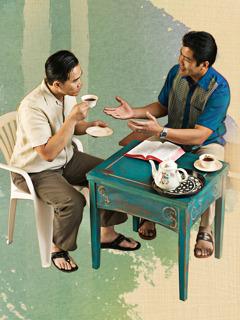 Quang rozmawia zLongiem oradach zBiblii