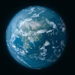 La Tierra suspendida sobre la nada en el espacio