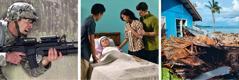 Un soldado; una mujer en una cama de hospital; casas destrozadas por un terremoto