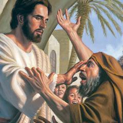 Gesù tocca il viso di un uomo e lo guarisce dalla sua malattia