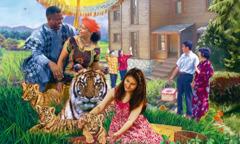 Mensen van allerlei rassen genieten van het leven in het paradijs