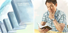 Bible dalam banyak bahasa; seorang lelaki membaca Bible dalam bahasanya